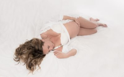 Maternity photo shoot in white